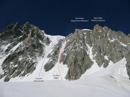 Snow and ice routes on the east face of Mont Blanc du Tacul. Thomas Charbonneau.  Creative Commons CC-by-sa.  http://www.camptocamp.org/images/171929/fr/face-est-du-mont-blanc-du-tacul