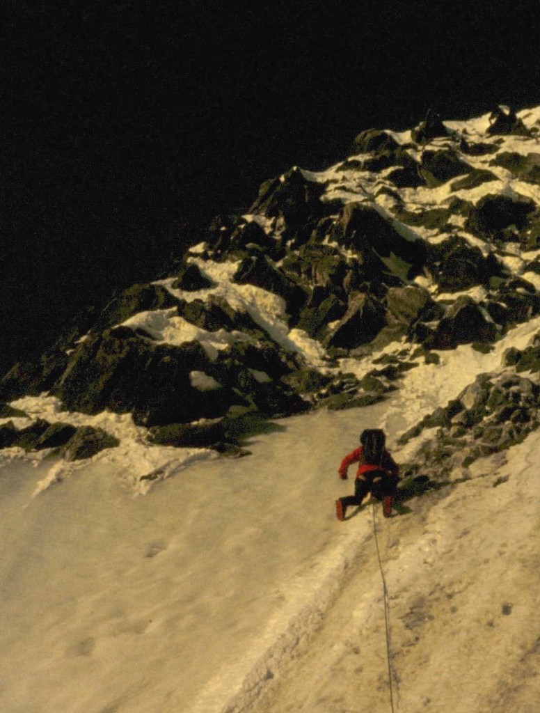 Sean Smith approaching the mixed ground at the exit from the Jager Couloir, E. Face of Mont Blanc de Tacul